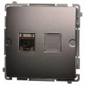 Simon Basic BM61E.01/21 - Gniazdo komputerowe pojedyncze 1xRJ45 kat.6 ekranowane z przesłoną przeciwkurzową - Inox Met. - Podgląd zdjęcia producenta