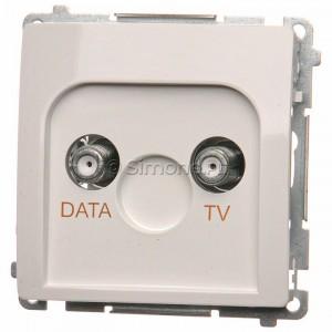 Simon Basic BMAD1.01/11 - Gniazdo antenowe TV-DATA, dwa porty wyjściowe typu F - Biały - Podgląd zdjęcia producenta