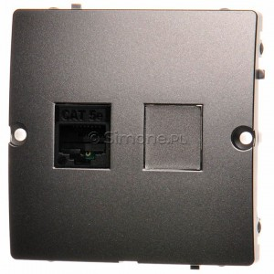 Simon Basic BMF51.02/21 - Gniazdo komputerowe pojedyncze 1xRJ45 kat.5e - Inox Met. - Podgląd zdjęcia producenta