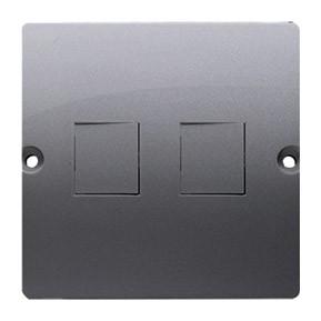 Simon Basic BMGK1P/21 - Pokrywa podwójna płaska do wkładu gniazda telefonicznego bez mostka - Inox Met. - Podgląd zdjęcia producenta