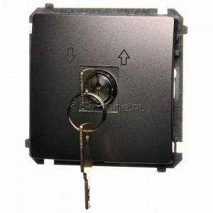 Simon Basic BMPZK.01/21 - Łącznik żaluzjowy na kluczyk chwilowy zwierny 3 pozycyjny I-0-II - Inox Met. - Podgląd zdjęcia producenta
