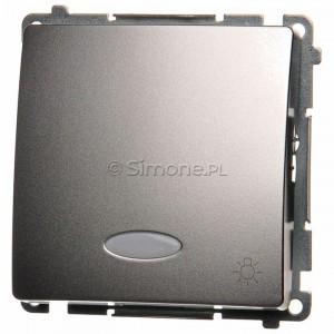 Simon Basic BMS1L.01/43 - Przycisk zwierny światło z podświetleniem - Srebrny Mat. - Podgląd zdjęcia producenta