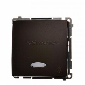 Simon Basic BMS1L.01/47 - Przycisk zwierny światło z podświetleniem typu LED w kolorze niebieskim - Czekoladowy - Podgląd zdjęcia nr 1
