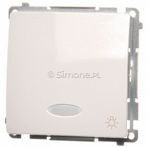 Simon Basic BMS1L24V.01/11 - Przycisk zwierny światło z podświetleniem na 24V - Biały - Podgląd zdjęcia producenta