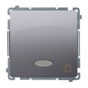 Simon Basic BMS1L24V.01/21 - Przycisk zwierny światło z podświetleniem na 24V - Inox Met. - Podgląd zdjęcia producenta