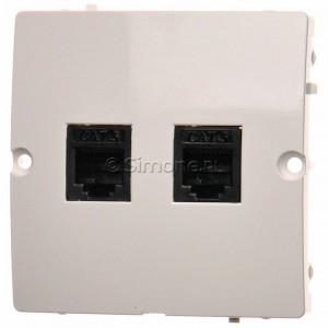 Simon Basic BMT2.02/11 - Gniazdo telefoniczne RJ12 podwójne - Biały - Podgląd zdjęcia producenta