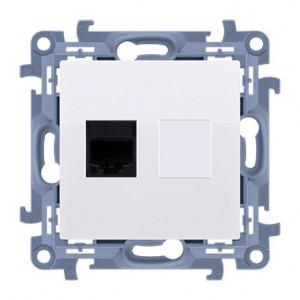 Simon 10 C61.01/11 - Gniazdo komputerowe pojedyncze RJ45 kat. 6 - Biały - Podgląd zdjęcia producenta