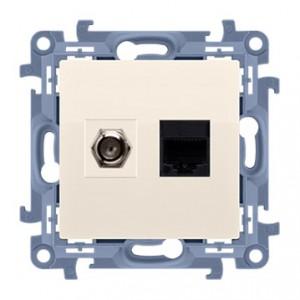 Simon 10 CASFRJ455.01/41 - Gniazdo antenowe SAT pojedyncze + Gniazdo komputerowe kat.6 - Kremowy - Podgląd zdjęcia producenta