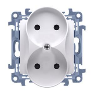 Simon 10 CG2M.01/11 - Gniazdo wtyczkowe podwójne bez uziemienia 16A - Biały - Podgląd zdjęcia producenta