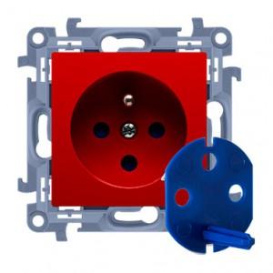 Simon 10 CGD1.01/22 - Gniazdo DATA z bolcem uziemiającym, kluczem uprawniającym oraz klapką w kolorze Czerwonym - Podgląd zdjęcia producenta
