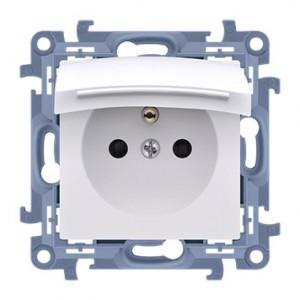 Simon 10 CGZ1B.01/11 - Gniazdo hermetyczne z bolcem uziemiającym, uszczelką ramki i klapką w kolorze wyrobu - Biały - Podgląd zdjęcia producenta