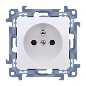 Simon 10 CGZ1Z.01/11 - Gniazdo wtyczkowe pojedyncze z uziemieniem i przesłonami torów prądowych 16A - Biały - Podgląd zdjęcia producenta