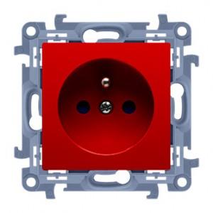 Simon 10 CGZ1Z.01/22 - Gniazdo wtyczkowe pojedyncze z uziemieniem i przesłonami torów prądowych w kolorze Czerwonym 16A - Czerwony - Podgląd zdjęcia producenta