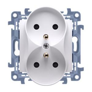 Simon 10 CGZ2MZ.01/11 - Gniazdo wtyczkowe podwójne z uziemieniem i przesłonami torów prądowych 16A - Biały - Podgląd zdjęcia producenta