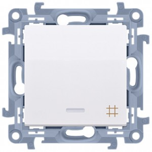 Simon 10 CW7L.01/11 - Łącznik krzyżowy z podświetleniem LED 10A - Biały - Podgląd zdjęcia producenta