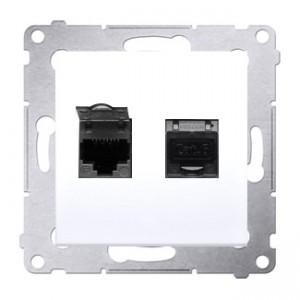 Simon 54 D62E.01/11 - Gniazdo komputerowe podwójne 2xRJ45 kat. 6 ekranowane z przesłoną przeciwkurzową - Biały - Podgląd zdjęcia producenta