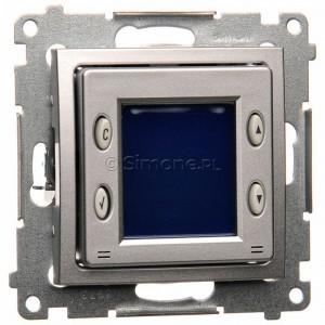 Simon 54 D75817.01/43 - Termostat elektroniczny programowalny z wyświetlaczem i wewnętrznym czujnikiem temperatury - Srebrny Mat - Podgląd zdjęcia producenta