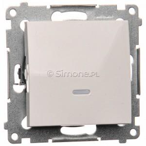 Simon 54 DW1L.01/11 - Łącznik pojedynczy z podświetleniem typu LED w kolorze niebieskim 10A - Biały - Podgląd zdjęcia producenta
