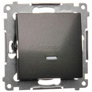 Simon 54 DW1L.01/48 - Łącznik pojedynczy z podświetleniem typu LED w kolorze niebieskim 10A - Antracyt - Podgląd zdjęcia producenta